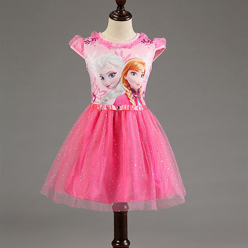 Baby Girl Elsa and Anna Frozen Elsa Dress Pink  Kids 2T, 3T, 4T, 5, 6