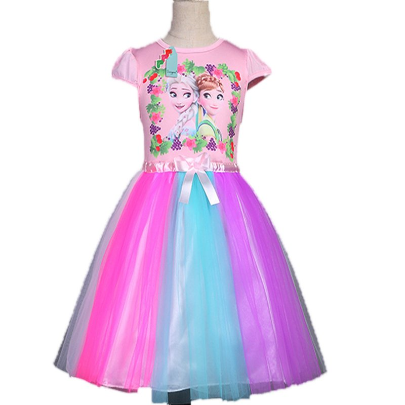 Elsa and Anna Frozen Dress Tutu Style Colorful 3T-7T NEW Pink Top