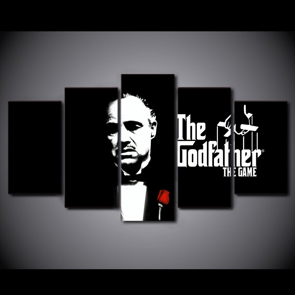 Godfather Movie Classic Framed 5pc Oil Painting Wall Decor HD