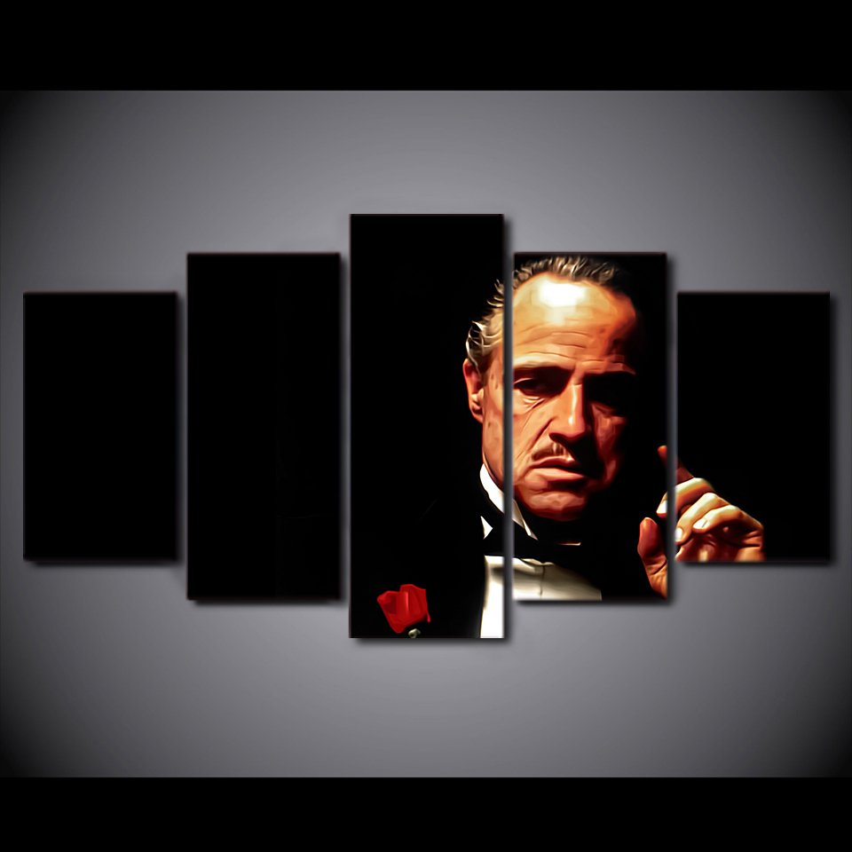 The GodFather movie Marlon Brando Hollywood Framed 5pc Oil Painting Wall Decor HD