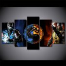 Mortal Kombat Double Fighter Gaming Logo Canvas Painting 5pc Framed Oil Painting Bedroom art HD