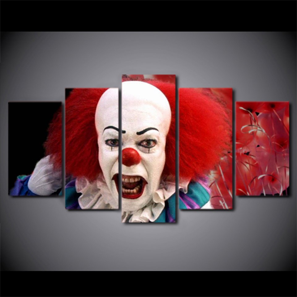 Pennywise IT Clown Evil Horror Canvas HD Wall Decor 5PC Framed oil Painting