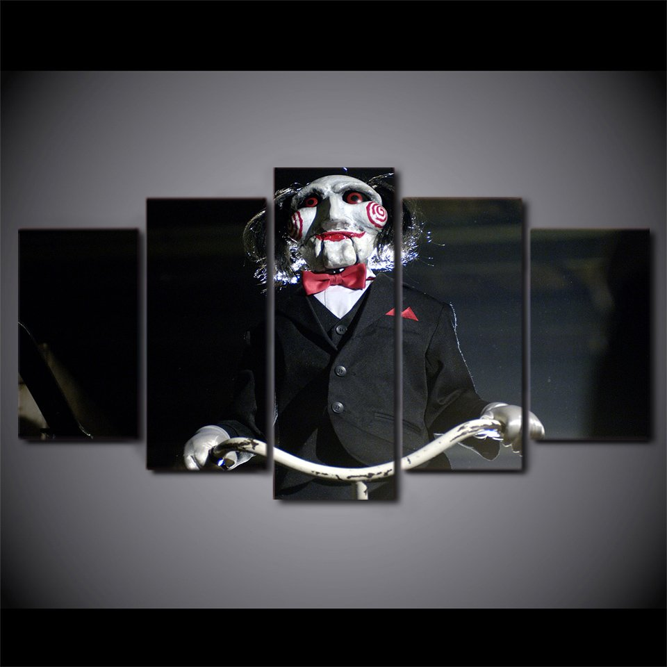 SAW Evil Horror Canvas HD Wall Decor 5PC Framed oil Painting