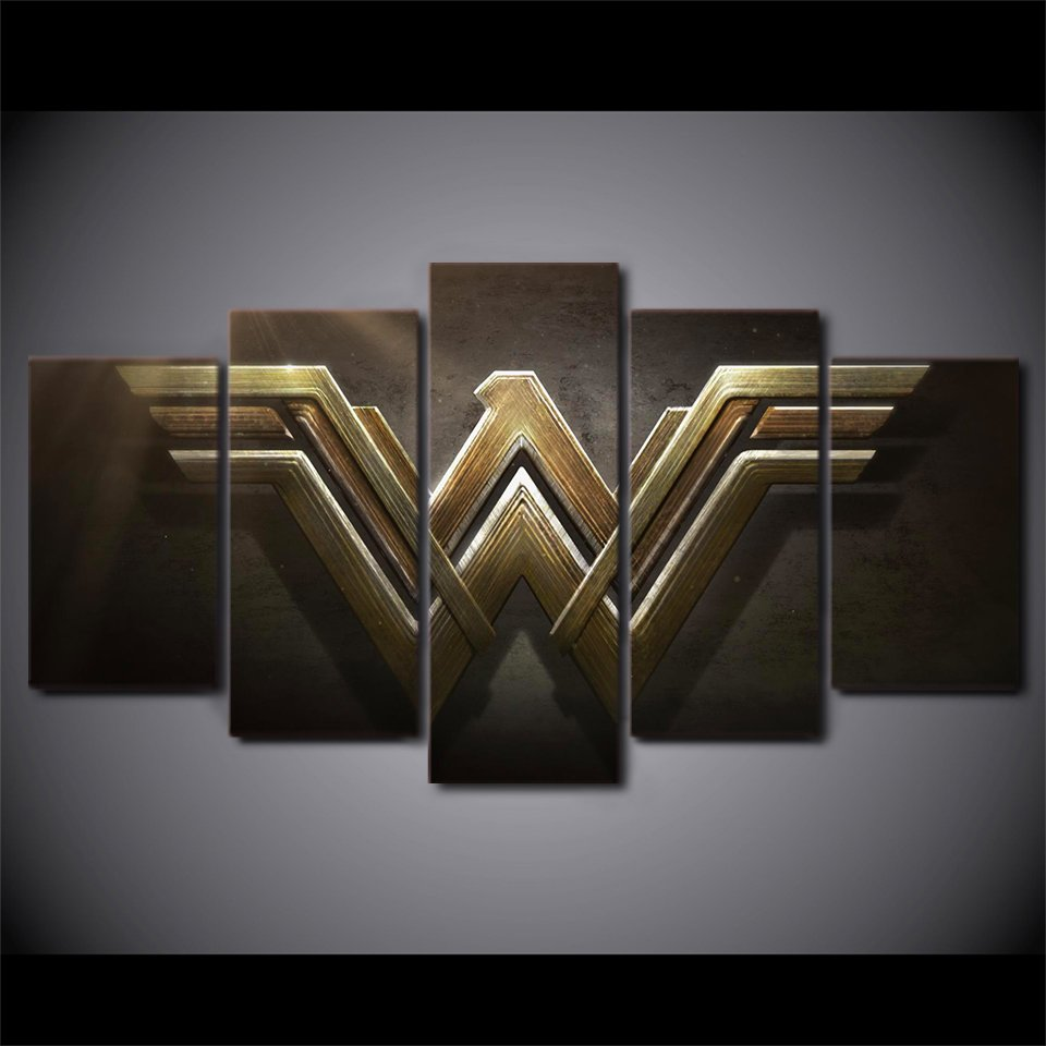 Wonder Woman Superhero Logo Action Canvas HD Wall Decor 5PC Framed oil Painting Art