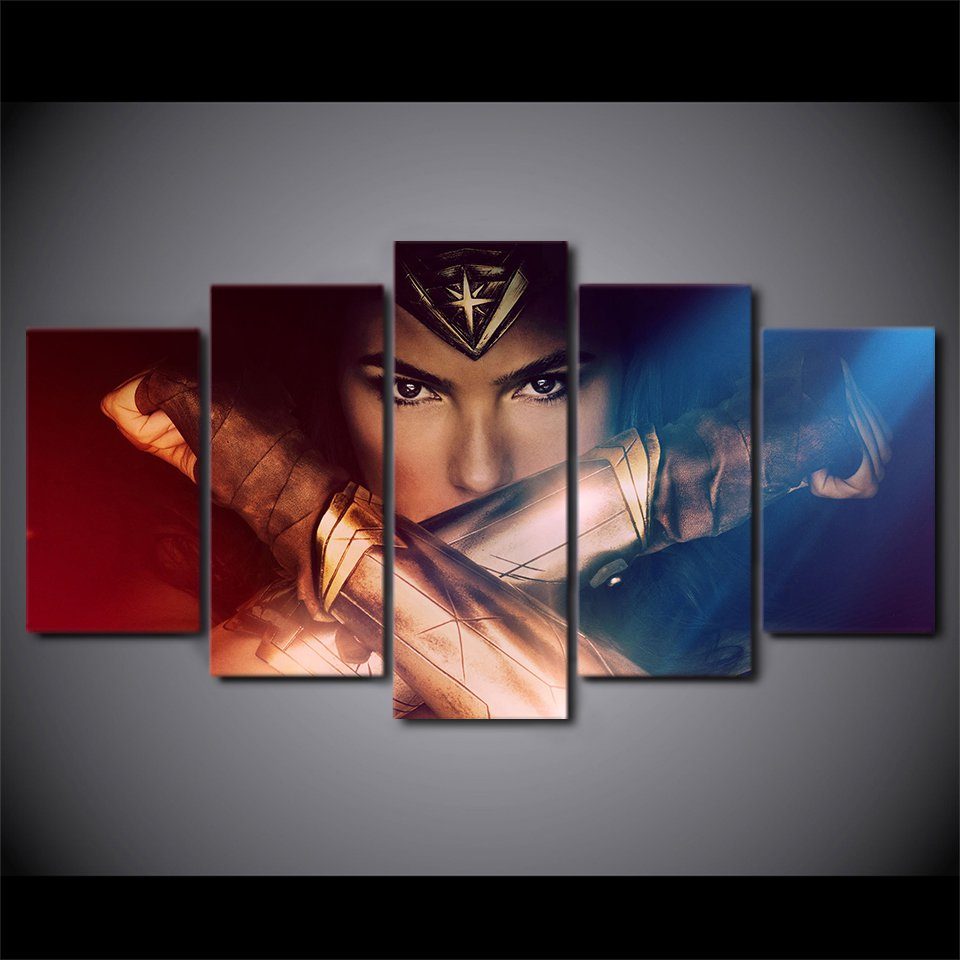 Superhero Wonder Woman Canvas HD Wall Decor 5PC Framed oil Painting Art