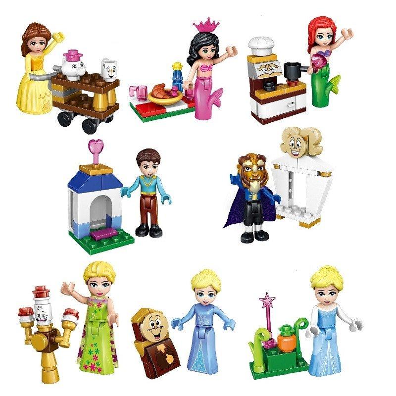 Elsa and friends 8pc Character Minifigure Lego Mini Figure Build block set Belle, beast, ariel