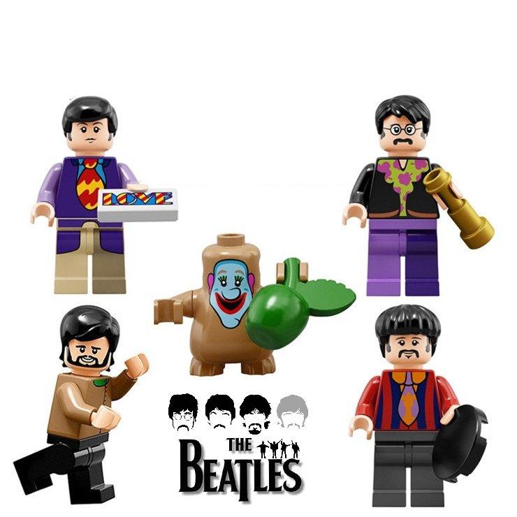 The BEATLES 4 PC Band Legends Character Minifigure Lego Mini Figure Build block set