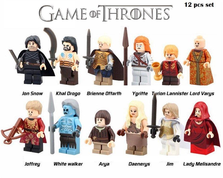 Game of Thrones Jon Snow Lord Varys Khai Drogo Ygritte Arya Lego Mini Figures 12pcs