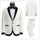 Mens  White Classic Tuxedo Suit Luxury Design Attire Coat Pants Vest Tie XS to 6XL