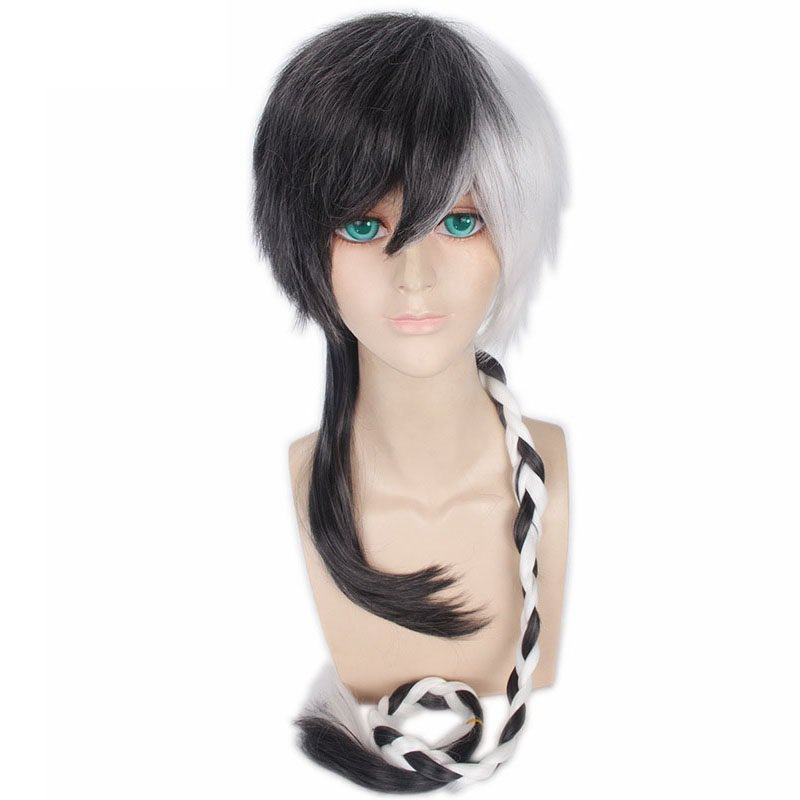 Black White Long Straight Braid Styled Synthetic Hair Costume Cosplay Wig