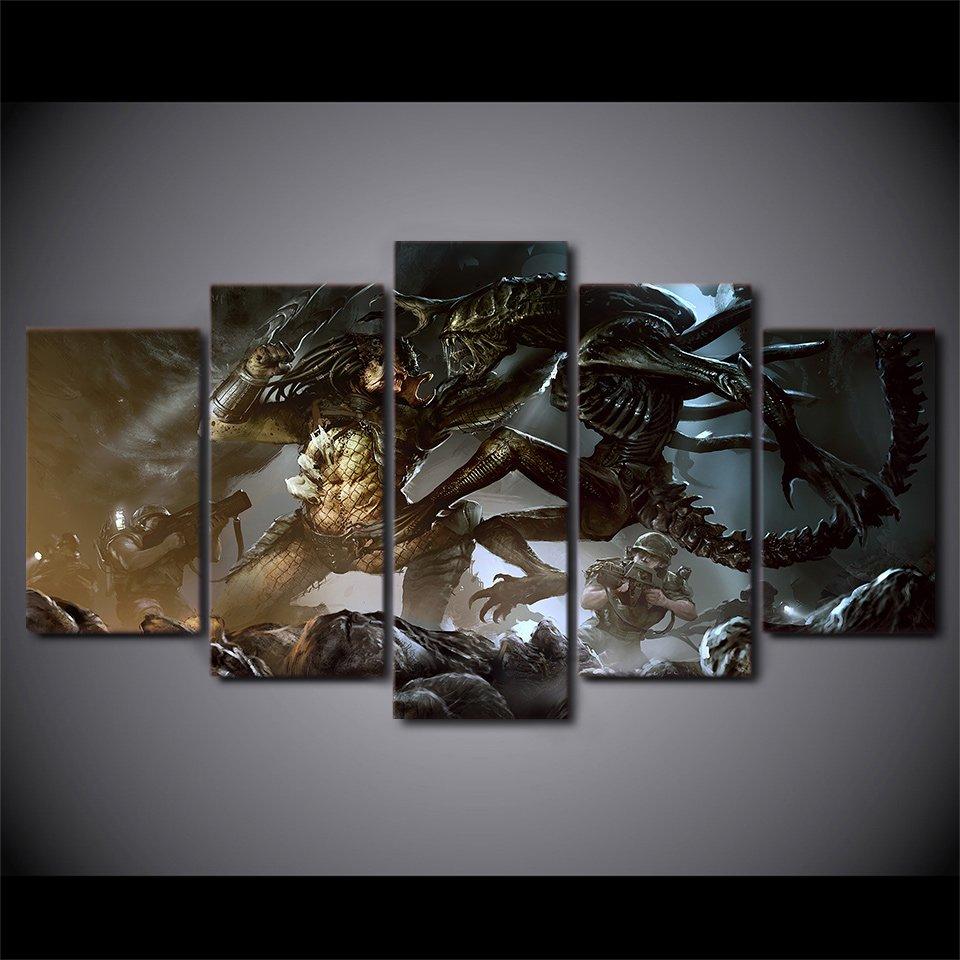 Alien vs predator horror movie framed 5pc oil painting art for Alien decoration