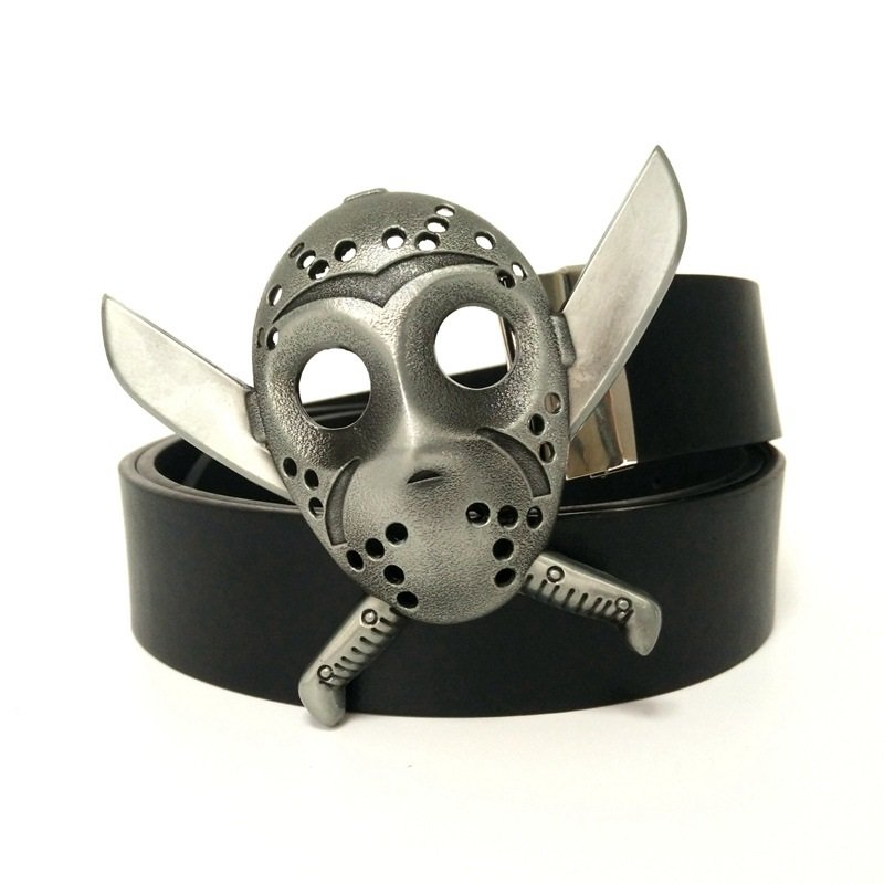 Jason Voohres Mask Friday the 13th Men's Horror fashion belt and buckle -Black