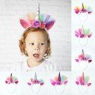 Unicorn Horn Headbands with Colorful Extras Decorations Girls Party Princess