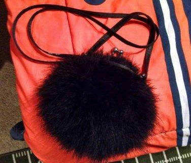 La Regale WOMEN HAND BAG Black FUR Hair Cocktail Purse RARE Find Vintage