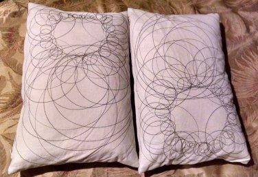 12x18 IKEA Throw Geometric Throw PillowsEmbroidered Linen White-Set of 2