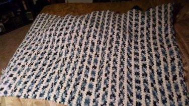 Vintage Handmade knit/crochet Afghan Blanket Throw Bedding 72 in. x 50 in