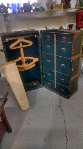 ANTIQUE Wardrobe Trunk dresser collector prop~~~RARE fancy~~~TITANIC type