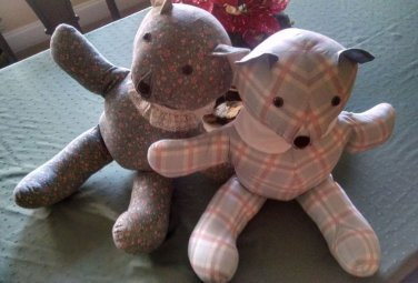 Vintage Handmade Teddy Bears TWO in perfect condition 22 inch