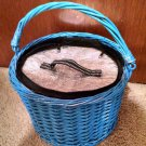 Vintage Bucket Wicker with handle thermal zipped bag insert  hot/cold blue 12x8