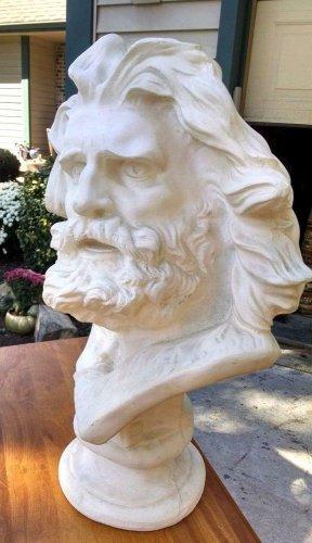 "LARGE Lifesize Plaster head Sculpture 24""x 12"" Greek God Bible Long hair beard"