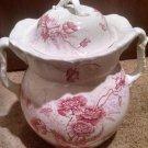 "Vintage Johnson Bro.Royal semi-porcelain Chamber Pot 12"" x 14"" Paris Red Floral"