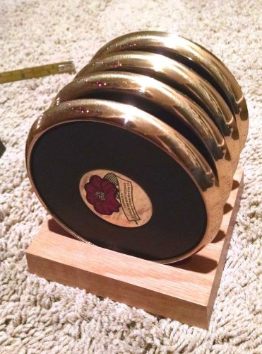 """VFW Logo_Center-4"""" Solid Brass BTS Set/4 Coasters with leather + Wooden Holder"""