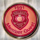 Coaster 91 Belleair Country Club Solid Brass Coaster Member Guest in leather
