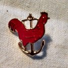 Red Rooster Chicken on Sailor Boat Anchor and Lapel Pin broach Hat-pin
