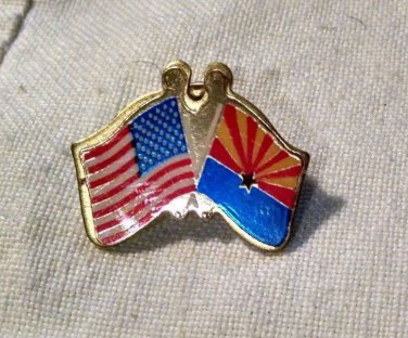 Arizona and USA Flag LAPEL PIN Sunsets Copper Mining Western