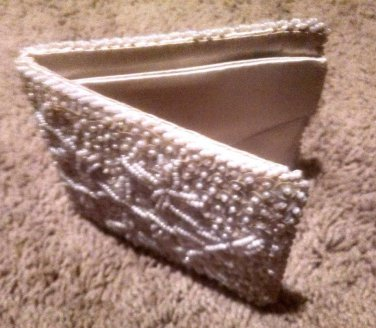 Vintage Ivory MOP Sequin & Pearl Beaded Evening Wallet