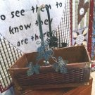 LARGE PRIMITIVE VINTAGE WOODEN BASKET WITH METAL HANDLE & GARLAND