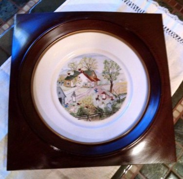 "Grandma Moses plate 8"" Jack and Jill 1st ed Atlas China  NY in Custom wood frame"