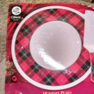 "Gibson Design 12"" Holiday Plaid  Durastone Cake Plate & Server NIB"