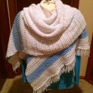 Vintage handmade Shawl Wrap White with stripe blues ends 76 x 24 fringe fashion