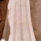 Vintage handmade Crochet Shawl Wrap Scarf  Winter-White 76 x 22 fringe Fashion