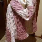 Vintage Lg. handmade Crochet Shawl Wrap Scarf Pink-White 90x40 Striped Fashion