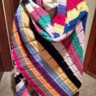 Vintage handmade Crochet Shawl Wrap Scarf Multi-Color Stripes 68 x 48 Fashion