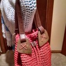 Orange-Coral Macrame Drawstring Purse / Bag / Cinch Sack Real Wood & Leather