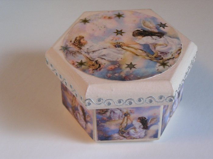 Angel Themed Pink Hand Painted Jewelry Box