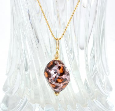 OOAK Pendant with Chain Gold Filled Genuine Murano Glass Handmade