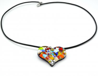 Genuine Murano Glass Pendant and Leather