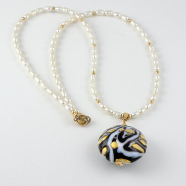 OOAK Necklace Pendant Freshwater Pearl Genuine Murano Glass Gold Filled