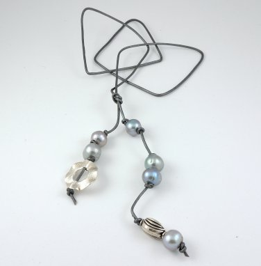 Silver Leather and Freshwater Pearls with Sterling Silver Long Necklace