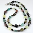 Tourmaline, Apatite, and Aragonite Sterling Silver Necklace