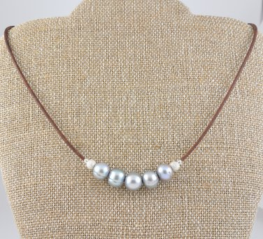 Freshwater Pearls and Brown Leather Sterling Silver Necklace