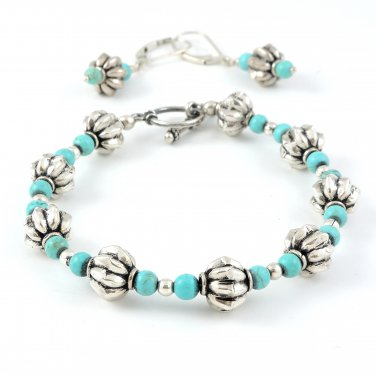 Turquoise Sterling Silver Bracelet and earrings set