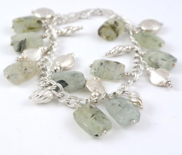 Tourmalinated Quartz Sterling Silver Charm Bracelet