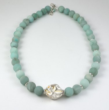 Necklace OOAK Matte Chrysoprase Sterling Silver Handmade