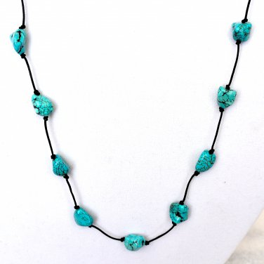 Black Leather and Turquoise Long Necklace with Earrings set in Sterling Silver