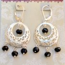Black Onyx Leverback Sterling Silver Earrings